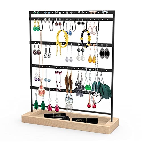 Earrings Organizer Jewelry Display Stand, 5-Tier 100 Holes Earring Holder Rack for Hanging Earrings, Metal and Wood Basic Large Storage Earring Jewelry Display Tree as Women Girls Gift