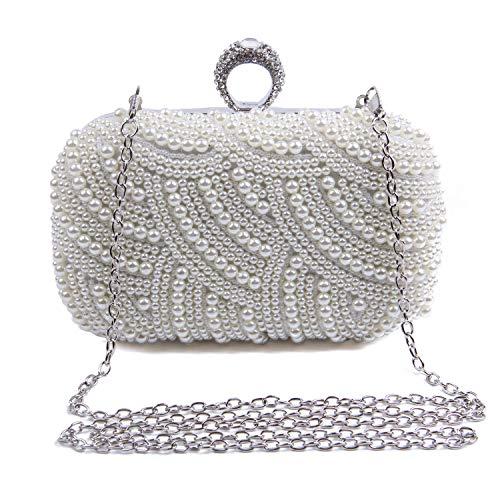 Syrads Abendtasche Damen mit Perle Braut Tasche Clutch Handtasche Umhängetasche Party Hochzeit Bankett Handtasche 769