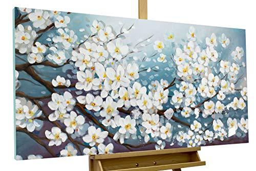 KunstLoft cuadro acrílico 'Glamour in white' 140x70cm | Original pintura XXL pintado a mano en lienzo | Cerezo con flores blancas para el salón | Mural acrílico de arte moderno en una pieza con marco