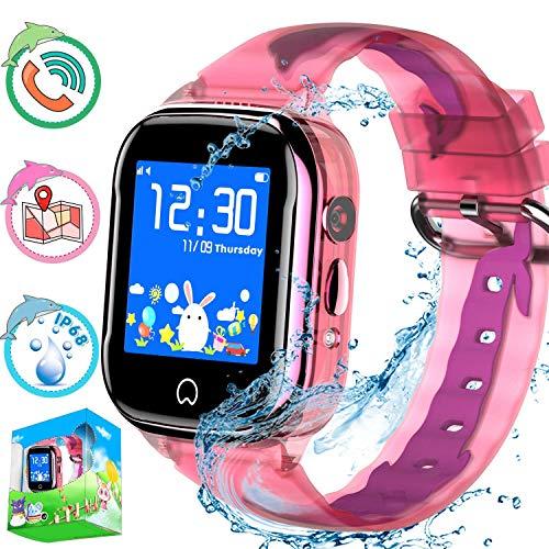 Reloj inteligente para niños con rastreador de GPS, teléfono para niños, niñas, niñas, pantalla táctil, tarjeta SIM, cámara, Android, iOS compatible, cumpleaños Anti-Perdido Llamadas bidireccionales SOS Chat de voz (Rosa) (GSM solamente)