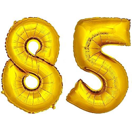 DekoRex® Folienballon Zahlenballon Heliumballon Luftballon Geburtstag Deko 120cm Zahl Gold 85