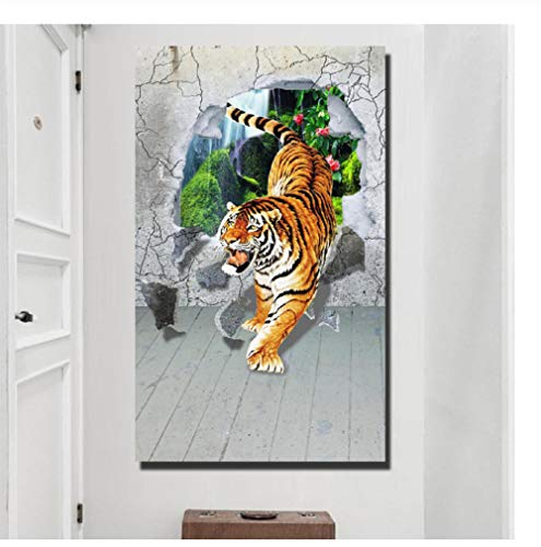 mashanglaile Poster Living Room Wall 3D Animal Art Canvas Sin Marco Tiger Wall Art Picture Living Room
