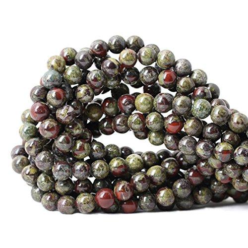Qiwan 45PCS 8mm Natural Dragon Blood Jasper Gemstone Gem Round Loose Beads for Jewelry Making 1 Strand 15