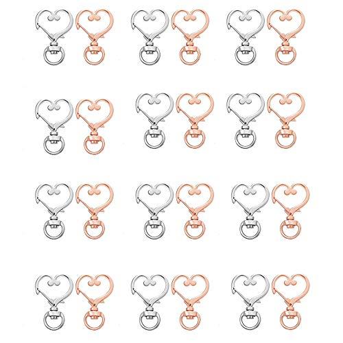 Keychain Metal,24 Piezas Llavero en Forma de Corazón,Colgante de Llavero de joyería para Coche,Mosquetón con Llaveros,Amante Llavero Colgante,Llaveros para Mujer,para Llavero(Oro Rosa,Plata)