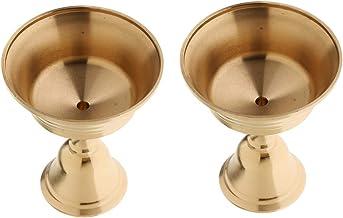 2Pcs Buddhist Copper Lamp Holder Candle Holder Brass Oil Lamp Caliber 5.5cm