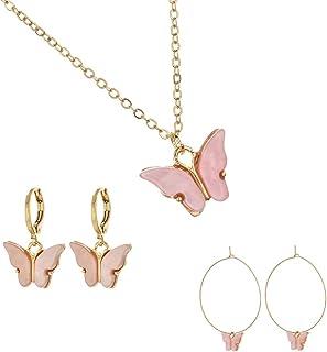 Mariposa Butterfly Huggie Hoop Earrings Necklaces Set for Women- Mariposa Dainty Acrylic Butterfly Aesthetic Cute Jewelry ...