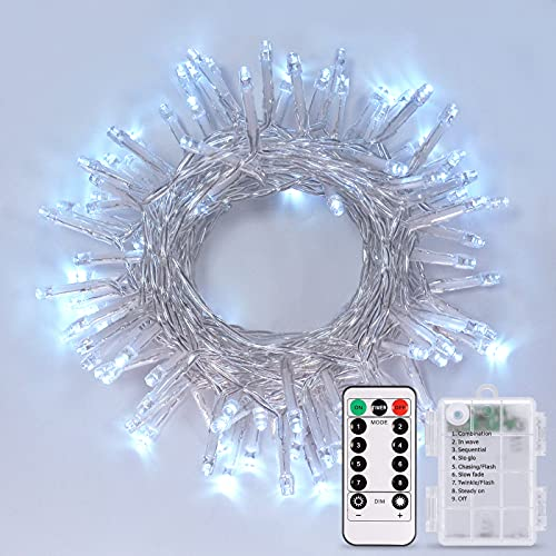 JMEXSUSS Battery Operated String Lights with Remote, 33FT 100 LED Christmas Lights Waterproof...