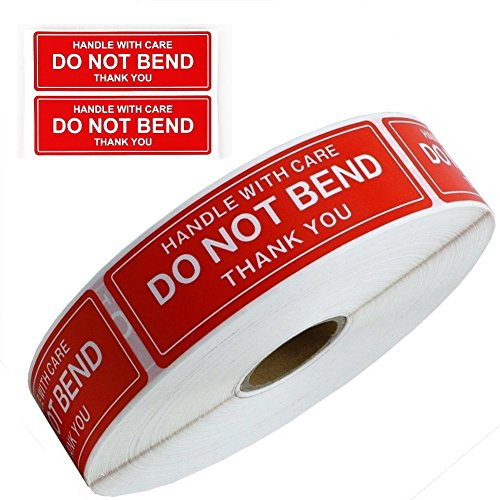 "Handle With Care - Do Not Bend - Thank You Shipping Stickers Labels, 1""x3"", 1000 Per Roll (1 Roll)"