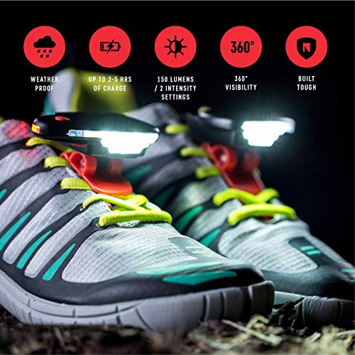 Night Runner 270 Shoe Lights - Rechargeable & Waterproof Battery Light for Runners, Dog Walking, Hiking - Best Safety Running Gear for High Visibility at Night Time or Low Light