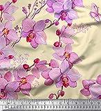 Soimoi Gelb japanischer Kreppsatin Stoff Vogel & Orchideen