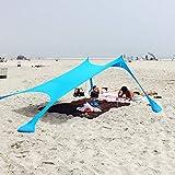 XISHUAI Qrout Tenda da Spiaggia con Ancoraggio a Sabbia - 100% Lycra Parasole Protezione UPF50+ Anti UV 2.1m x 2.1m per Campeggio Esterno Pesca Picnic