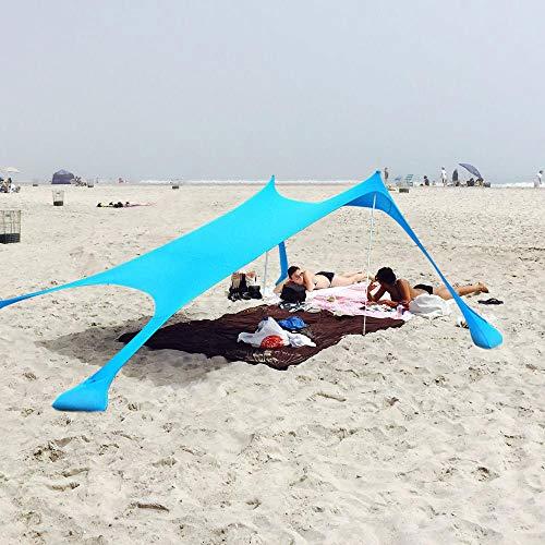 XISHUAI Qrout Strandzelt mit Sand Anker - Strandmuschel 100% Lycra UV Schutz UPF50-2,1 m x 2,1 m Garten Sonnensegel für 2-4 Personen Strand Camping Wandern Angeln Picknick
