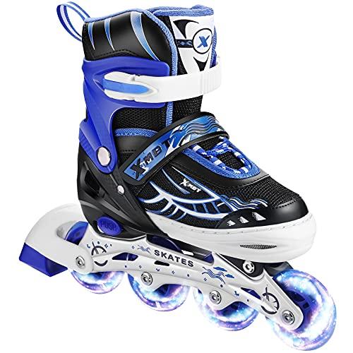 Hikole Patines en línea, patines en línea ajustables con todas las ruedas iluminadas, patines en línea, cuchillas para niños, niñas, hombres y mujeres