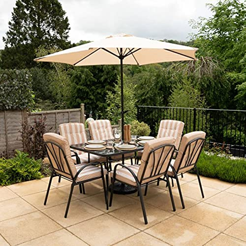 HECTARE Hadleigh Garden Outdoor Patio Table/Chair/Parasol Dining Furniture Set (6 Seater, Beige)