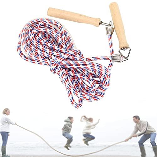 Vandove Mehrspieler Springseil Kinder Holzgriff Gruppenseil Springseil Erwachsene Fitness Training Fett Brennen Übung, für Schulsport Outdoor-Aktivitäten (10m)
