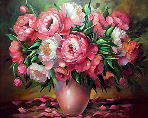 Jkykpp Digitale olieverfschilderij op nummer, vaas, bloem, acryl, schilderij voor kinderen, volwassenen, kerstcadeau, 40 x 50 cm