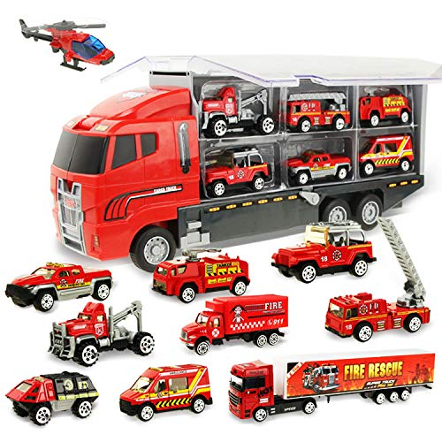 Coolplay Fire Truck Toy Set Mini Die-cast Car Set Rescue Emergency Vehicles Fire Engine Vehicle 10 in 1 Big Carrier Truck Ambulance Toy for Kids 3-8 Years Old