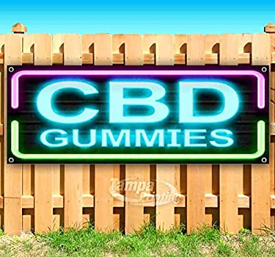 CBD Gummies 13 oz Banner Heavy-Duty Vinyl Single-Sided with Metal Grommets by Tampa Printing
