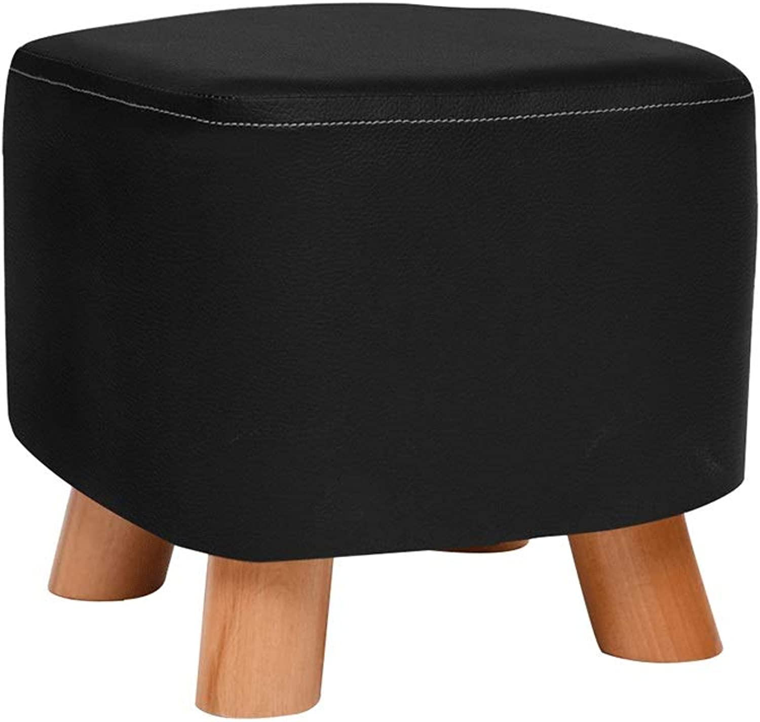 Zcxbhd Leather,Solid Wood Change shoes Bench Footstool,Sofa Bench,Low Stool,Creative shoes Stool Load 150kg (color   Black)