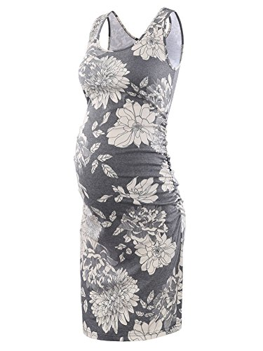 Liu & Qu Women's Maternity Sleeveless Tank Dresses Side Ruching Bodycon Dress for Daily Wearing or Baby Shower Floral 9 Medium