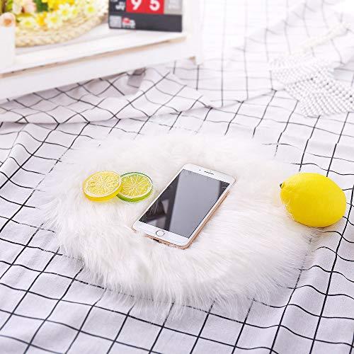Hukz Weiche Künstliche Schaffell, Wolldecke Stuhl Abdeckungs Künstliche Wolle Warmer haariger Teppich Sitz Teppiche Fußmatten Schlafzimmer Teppich Tür Haushalt Boden Badezimmer (Weiß)