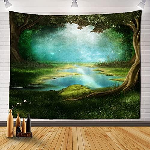 EDESY tapizTapiz de Bosque Toalla de Playa Paisaje de Cascada Hermosa Pintura Alfombra de Pared Alfombra de Yoga decoración del hogar Tapiz Mantel