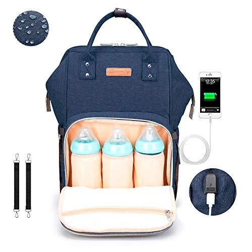 Baby Wickelrucksack Wickeltasche Wasserdicht Oxford Jeans Rucksack Große Kapazität Babytasche für Unterwegs, mit USB-Ladeanschluss und 2 Kinderwagengurten für Mama (Dunkelblau)