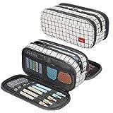 Large Pencil Case Big Capacity Pencil Bag Large Storage Pouch 3 Compartments Desk Organizer Marker Pen Case Simple Stationery Bag Pencil Holder (Plaid White)
