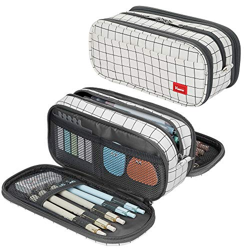 Large Pencil Case Big Capacity Pencil Bag Large Storage Pouch 3 Compartments Desk Organizer Marker Pen Case Simple Stationery Bag Pencil Holder (Plaid White)