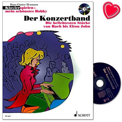 Piano spelen mijn mooiste hobby - De concertband - De populairste stukken van Bach tot Elton John - notenboek met CD en kleurrijke hartvormige muziekklem - ED8467 9783795751487
