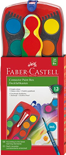 Faber-Castell Connector Paint Box Watercolor Set - 12 Watercolor Paints with Brush and Accessories