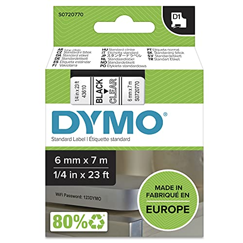 DYMO D1-Etikettenband Authentisch | schwarzer Druck auf transparentem Untergrund | 12mm x 7m | selbstklebendes Schriftband | für LabelManager-Beschriftungsgerät