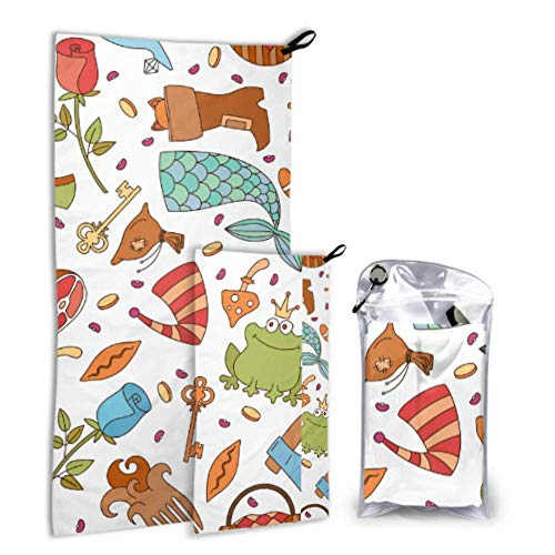 Xuyonh Cute Fashion Creative Magic Boots 2 Pack Microfiber Lady Beach Towel Printed Towel Set Fast Drying Best for Gym Travel Backpacking Yoga Fitnes