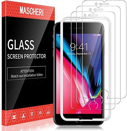 MASCHERI 3-pack skärmskydd kompatibelt med iPhone 7 och iPhone 8 härdat glas justeringsram enkel installation 9H hårdhet glas skärmskydd film