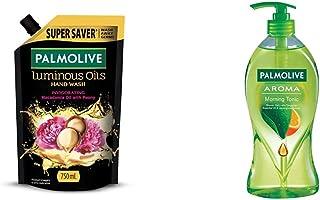 Palmolive Aroma Morning Tonic Body Wash - 750ml Pump and Palmolive Luminous Oils Invigorating Liquid Hand Wash - 750 ml (R...