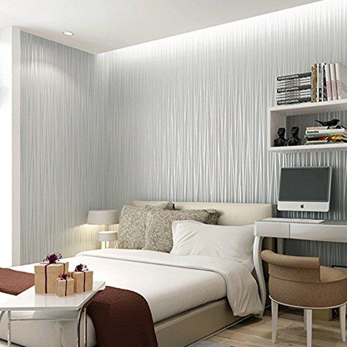 laamei Papel Pintado 3D Rayas Diseño No-Tejido Papeles Muro Decoración de Pared para TV Telón de Fondo/Dormitorio/Hotel/Restaurante(53x500cm)