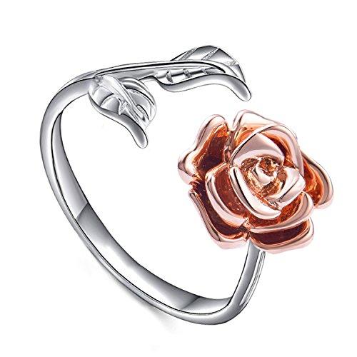 Rose Blume Verstellbaren Ringen Ringe für Damen S925 Sterling Silber Romantisches Geschenk für Sie (Rose)