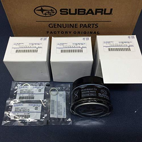 Subaru Engine Oil Filter & Crush Gasket (3 Pack) 2015-2018 WRX 2.0 15208AA170 OEM