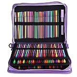 Étui à crayons, 160 emplacements PU Placage Couleur Zipper Stylo Sac Dessin Stylos Papeterie Sac à main pour crayons de couleur crayons Aquarelle(Laser violet)