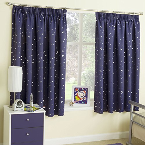 Moon & Stars Metallic tape Top Thermal semi Blockout Curtains Children Kids 46 X 54 Navy by Ians Emporium