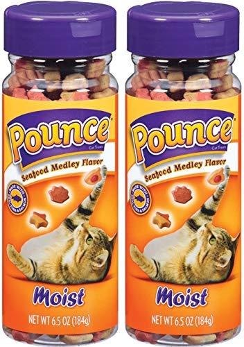 Pounce 2 Pack of Moist Cat Treats, 6.5 Ounces Each, Seafood Medley Flavor