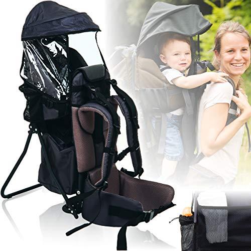 Baby Rückentrage mit SONNENDACH/REGENDACH (Ultra leicht) Kinder Trage (GRAU)