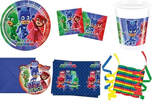 JT-Lizenzen PJ Masks Pyjamahelden 46-teiliges Kindergeburtstag Party Deko Set Standard Motto Fete Feier 8 Teller, 8 Becher, 20 Servietten, Tischdecke, 6 Einladungskarten, 3 Rollen Luftschlangen