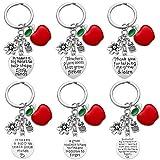 Teacher Gifts for Women - 6PCS Teacher Keychain Teacher Appreciation Gifts, Thank You Gifts for Teachers,...