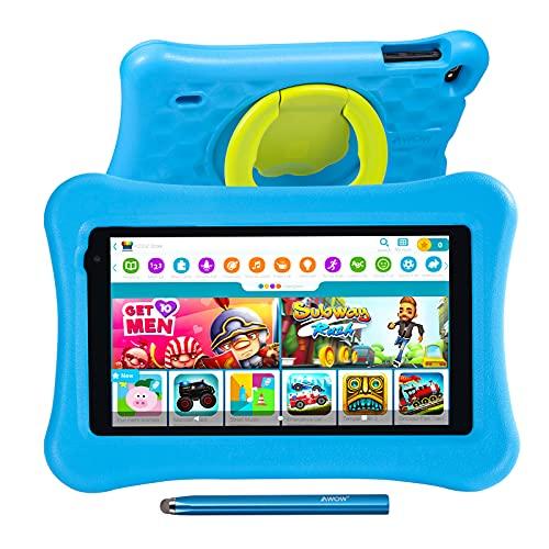 Tablet para niños de 7 Pulgadas AWOW Tablet Infantil, Android 10 Go Quad Core, KIDOZ Preinstalado, con Kid-Proof Funda y Lápiz Táctil, Control Parental, Doble Cámara, Azul