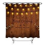 Weihnachtsbeleuchtung Girlande Duschvorhang für Badezimmer,wasserdichtes & schnelltrocknendes Polyester,hochauflösendes Muster,12Haken,180X180cm,Heimtextilien auf rustikalem Holzuntergr&
