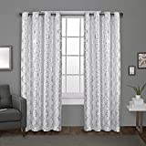 Exclusive Home Curtains Modo Metallic Geometric Window Curtain Panel Pair with Grommet Top, 54x108, Winter White, 2 Count