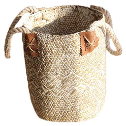 QZH Cesta de Almacenamiento de Mimbre, Cesta de Maceta Natural, cestas para el Vientre, Cesta de Almacenamiento de Juguetes para Picnic, decoración de Escritorio, Color Blanco