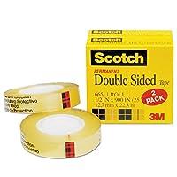 """Scotch 6652pk両面テープ、1インチコア、1/ 2"""" x900、"""" 2/ PK、クリア"""
