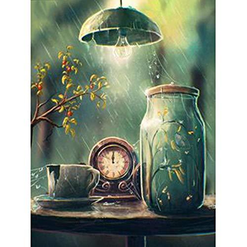 MOL 5D DIY diamant schilderij bloem in de regen wooncultuur kruis Ctitch Kit volledige ronde boren borduurwerk kunsthandwerk sturen geschenken 30x40cm